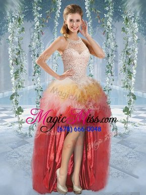 Excellent Halter Top Sleeveless High Low Beading and Ruffles Lace Up Glitz Pageant Dress with Multi-color
