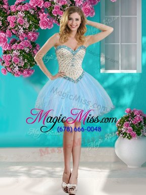 Stylish Sweetheart Sleeveless Homecoming Dress Online Mini Length Beading and Ruffles Baby Blue Organza