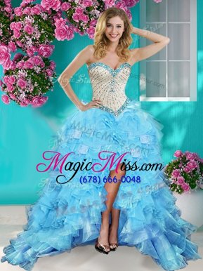Baby Blue Organza Lace Up Sweetheart Sleeveless High Low Military Ball Gowns Beading and Ruffles