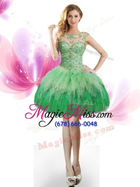 Edgy Green Scoop Lace Up Beading and Ruffles Cocktail Dresses Sleeveless