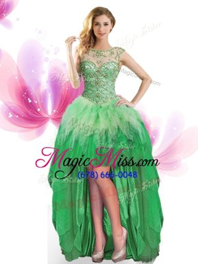 Affordable Green Lace Up Scoop Beading and Ruffles Pageant Dress Toddler Tulle Sleeveless