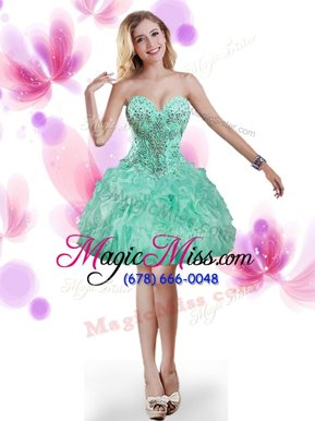 Cute Mini Length Turquoise Military Ball Gown Organza Sleeveless Beading and Ruffles