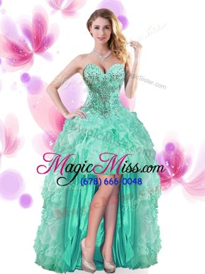 Colorful High Low Ball Gowns Sleeveless Turquoise Pageant Dresses Lace Up