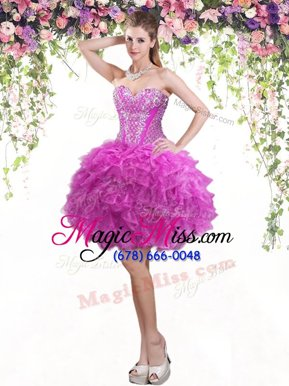 Ideal Tulle Sweetheart Sleeveless Lace Up Beading and Ruffles Teens Party Dress in Fuchsia