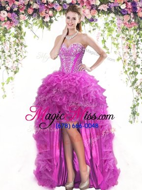 Decent Fuchsia Sleeveless High Low Beading and Ruffles Lace Up Ball Gown Prom Dress