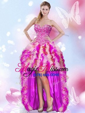 Captivating Multi-color Tulle Lace Up Pageant Dress for Teens Sleeveless High Low Beading and Ruffles