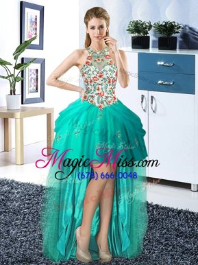 Sexy Halter Top Sleeveless Embroidery and Pick Ups Lace Up Red Carpet Prom Dress