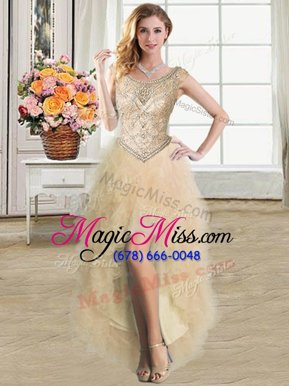 Stylish Champagne Ball Gowns Tulle Scoop Sleeveless Ruffles High Low Lace Up Military Ball Dresses