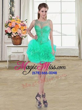 Trendy Turquoise Ball Gowns Scoop Sleeveless Tulle Mini Length Lace Up Beading and Ruffles Homecoming Dress