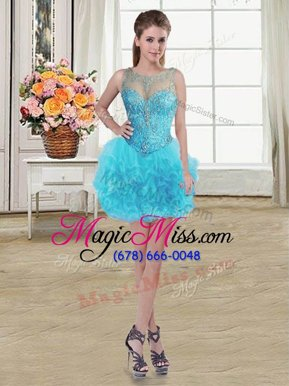 Stunning Baby Blue Scoop Neckline Beading and Ruffles Party Dress Sleeveless Lace Up