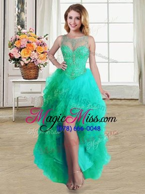 Trendy Scoop Sleeveless High Low Beading and Ruffles Lace Up Cocktail Dresses with Turquoise
