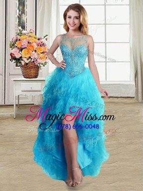 Scoop Baby Blue Sleeveless Tulle Lace Up Pageant Dress for Teens for Prom and Party