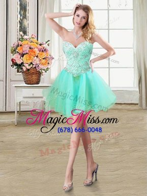 Nice Apple Green A-line Organza Sweetheart Sleeveless Beading Mini Length Lace Up Homecoming Dress