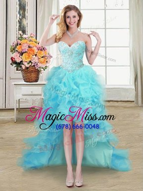 Sexy Aqua Blue Sleeveless Beading and Ruffles High Low Celebrity Evening Dresses