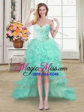 Spectacular Organza Sleeveless High Low Pageant Dress for Teens and Beading and Ruffles