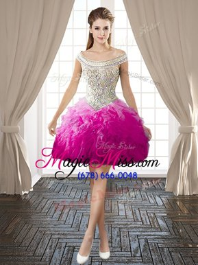 Modest Off the Shoulder Mini Length Backless Juniors Party Dress Hot Pink and In for Prom and Party with Beading and Ruffles