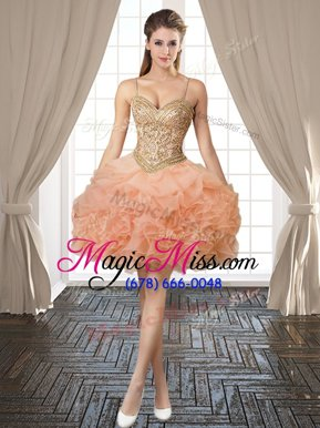 Graceful Backless Spaghetti Straps Sleeveless Club Wear Mini Length Beading and Ruffles and Pick Ups Orange Organza