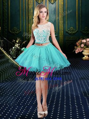 Edgy Scoop Mini Length Ball Gowns Sleeveless Aqua Blue Homecoming Party Dress Clasp Handle