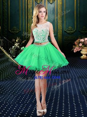 Colorful Scoop Sleeveless Lace Up Mini Length Beading and Lace and Appliques Prom Dresses