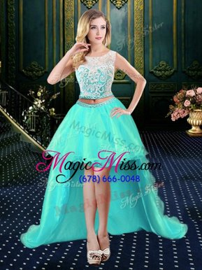 Designer Scoop Sleeveless Organza High Low Clasp Handle Dress Like A Star in Aqua Blue for with Lace