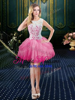 Colorful Watermelon Red Ball Gowns Scoop Sleeveless Tulle Mini Length Clasp Handle Lace Cocktail Dresses