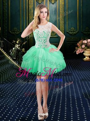Admirable Scoop Floor Length Ball Gowns Sleeveless Turquoise Prom Party Dress Lace Up