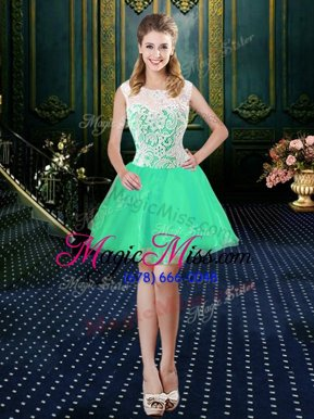 Enchanting Scoop Sleeveless Teens Party Dress Mini Length Lace Turquoise Organza