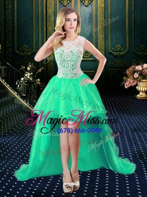 Scoop Sleeveless Zipper Prom Evening Gown Turquoise Organza and Lace