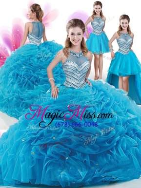 Shining Four Piece Aqua Blue Ball Gowns Ruffles and Pick Ups Sweet 16 Quinceanera Dress Zipper Organza Sleeveless With Train