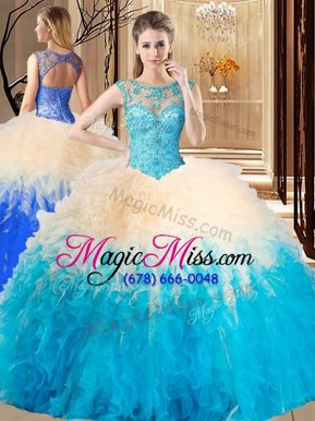 Luxurious High-neck Sleeveless Backless Quinceanera Gown Aqua Blue Tulle