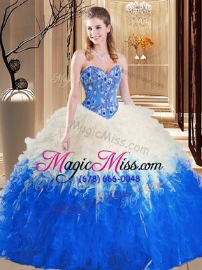 Charming Multi-color Lace Up Sweetheart Embroidery and Ruffles Quinceanera Gown Tulle Sleeveless
