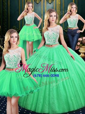 Four Piece Sequins Floor Length 15th Birthday Dress Scoop Sleeveless Lace Up