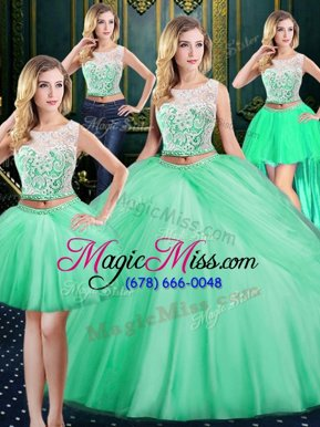 Super Four Piece Scoop Lace and Pick Ups Sweet 16 Dresses Apple Green Zipper Sleeveless Floor Length