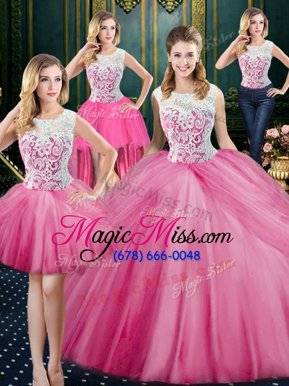 Romantic Four Piece Rose Pink Scoop Neckline Lace and Appliques and Pick Ups Quinceanera Gown Sleeveless Zipper
