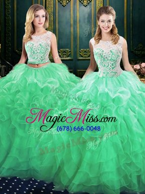 Luxurious Green Scoop Neckline Lace and Ruffles Quinceanera Dresses Sleeveless Lace Up