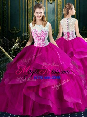 Comfortable With Train Fuchsia 15th Birthday Dress Square Sleeveless Brush Train Clasp Handle