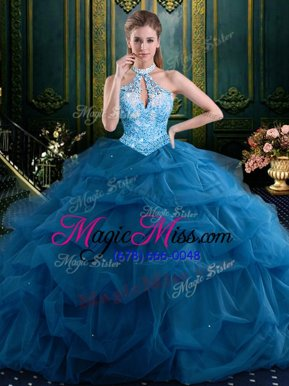 Fashion Halter Top Navy Blue Sleeveless Floor Length Beading and Pick Ups Lace Up Quince Ball Gowns