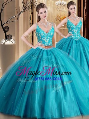 Hot Sale Floor Length Teal 15th Birthday Dress Tulle Sleeveless Beading and Lace and Appliques