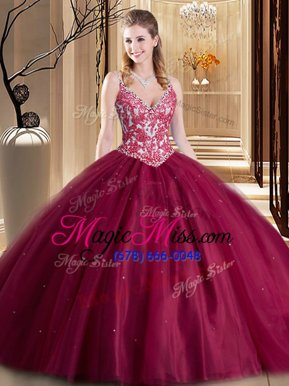 Unique Burgundy Spaghetti Straps Lace Up Beading and Lace and Appliques Quinceanera Gowns Sleeveless