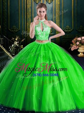 Wonderful Two Pieces Quinceanera Dress Halter Top Tulle Sleeveless Floor Length Lace Up