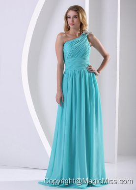 One Shoulder Ruched Bodice Aque Blue Bridesmaid Dress For Wedding Party