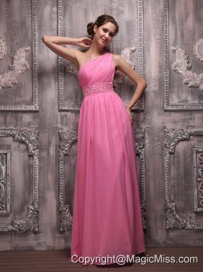 Rose Pink Empire One Shoulder Floor-length Chiffon Beading Prom / Evening Dress
