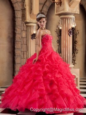 Red Ball Gown Sweetheart Floor-length Organza Ruffles Quinceanera Dress