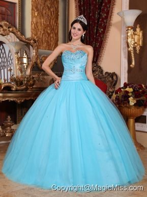 Baby Blue Ball Gown Sweetheart Floor-length Tulle and Taffeta Beading and Ruch Quinceanera Dress