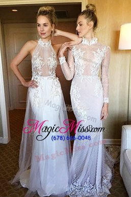 Most Popular Mermaid Lace White Long Sleeves,Sleeveless Sweep Train 1 Zipper-up Celebrity Style Dress