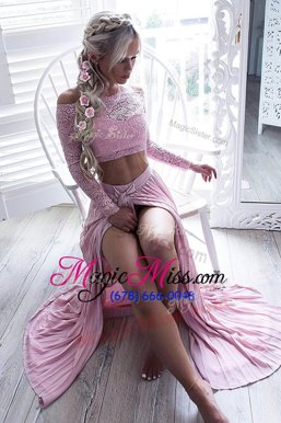 High Quality A-line Formal Dresses Pink Off The Shoulder Chiffon Long Sleeves Floor Length Zipper