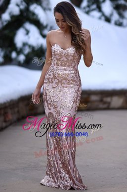 Latest Mermaid Peach Sleeveless Elastic Woven Satin Zipper Evening Gowns for Prom