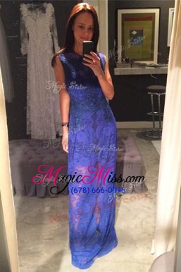 Dazzling Scoop Floor Length Royal Blue Going Out Dresses Lace Sleeveless Lace