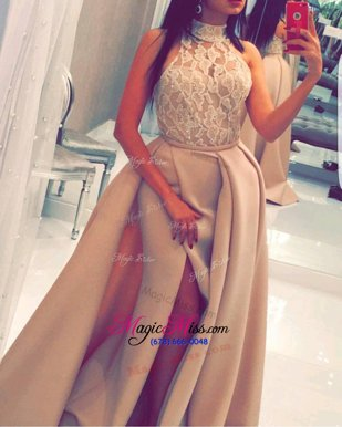 Pretty Mermaid Beading and Appliques Military Ball Gown Champagne Zipper Sleeveless Sweep Train