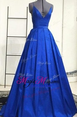 Sumptuous Royal Blue Satin Criss Cross Ball Gown Prom Dress Sleeveless Sweep Train Ruching
